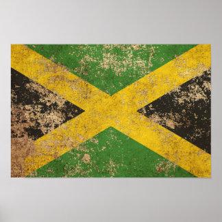 Bandera jamaicana envejecida áspera del vintage posters