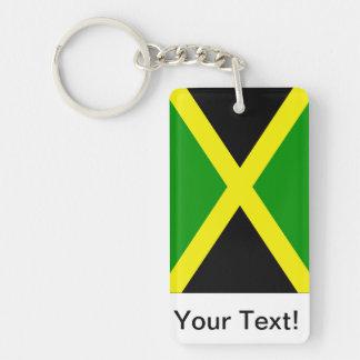 Bandera jamaicana llavero rectangular acrílico a doble cara