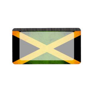 Bandera jamaicana nerviosa moderna etiqueta de dirección