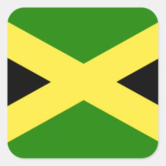 Bandera jamaicana pegatina cuadrada