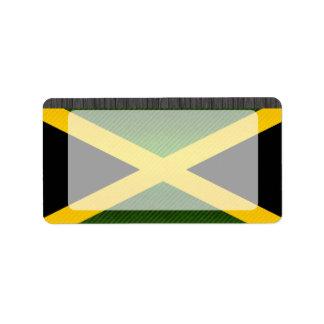 Bandera jamaicana pelada moderna etiqueta de dirección