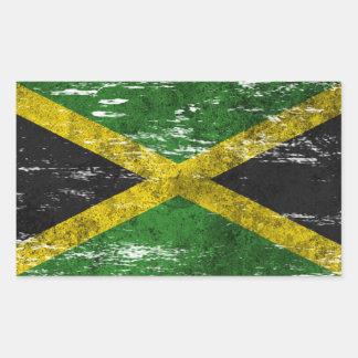 Bandera jamaicana rascada y llevada pegatina rectangular