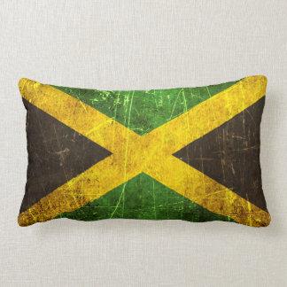 Bandera jamaicana rasguñada y llevada del vintage cojines