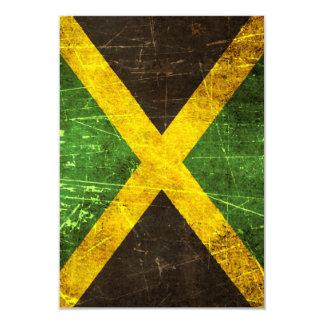 """Bandera jamaicana rasguñada y llevada del vintage invitación 3.5"""" x 5"""""""