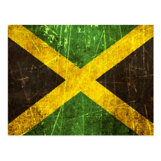 Bandera jamaicana rasguñada y llevada del vintage postales
