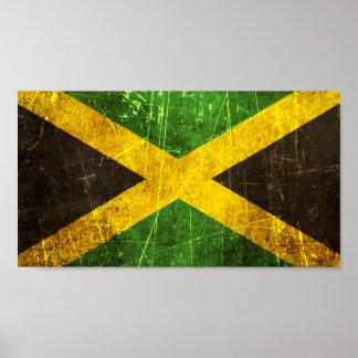 Bandera jamaicana rasguñada y llevada del vintage póster