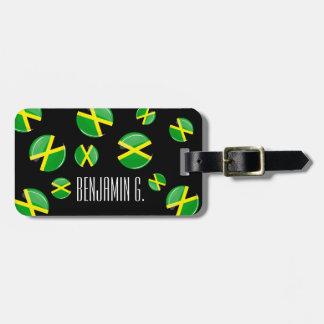 Bandera jamaicana redonda brillante etiqueta de equipaje