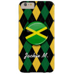 Bandera jamaicana redonda brillante funda de iPhone 6 plus barely there