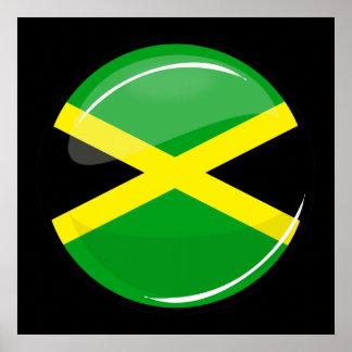 Bandera jamaicana redonda brillante póster