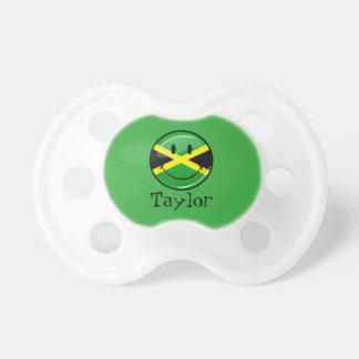 Bandera jamaicana sonriente de la ronda brillante chupetes para bebes