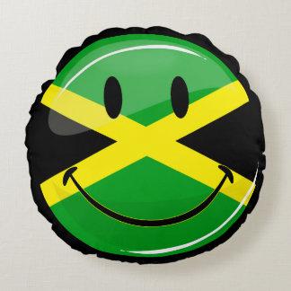 Bandera jamaicana sonriente de la ronda brillante cojín redondo