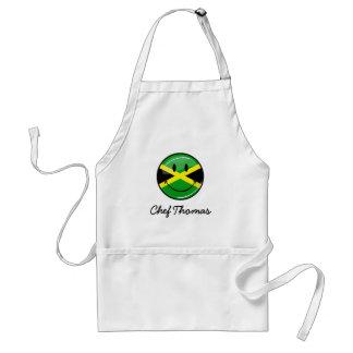 Bandera jamaicana sonriente de la ronda brillante delantal