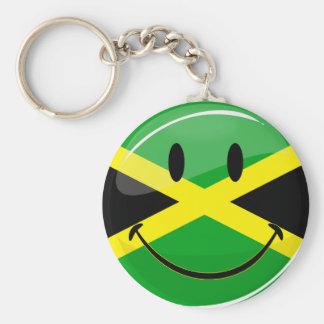 Bandera jamaicana sonriente de la ronda brillante llavero redondo tipo pin