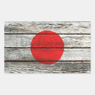 Bandera japonesa con efecto de madera áspero del pegatina rectangular