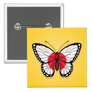 Bandera japonesa de la mariposa en amarillo pins