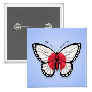 Bandera japonesa de la mariposa en azul pin