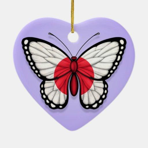 Bandera japonesa de la mariposa en púrpura adorno de cerámica en forma de corazón