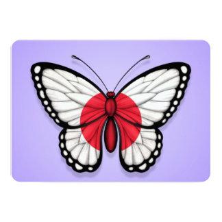 """Bandera japonesa de la mariposa en púrpura invitación 5"""" x 7"""""""