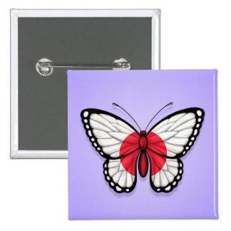 Bandera japonesa de la mariposa en púrpura pins