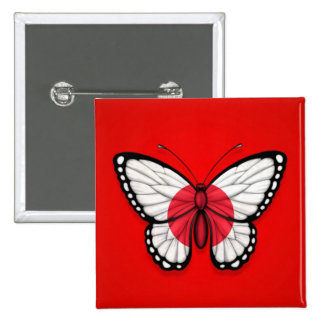 Bandera japonesa de la mariposa en rojo pin