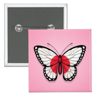 Bandera japonesa de la mariposa en rosa pin
