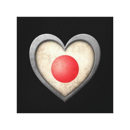 Bandera japonesa del corazón con efecto del metal impresiones en lienzo estiradas