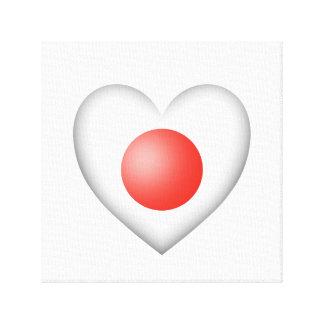 Bandera japonesa del corazón en blanco impresiones en lienzo estiradas