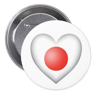 Bandera japonesa del corazón en blanco pin