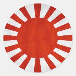 Bandera japonesa del Grunge Pegatina Redonda