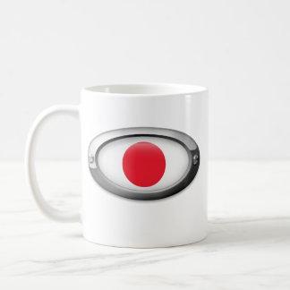 Bandera japonesa en el marco de acero tazas