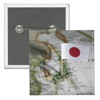 Bandera japonesa en mapa pin