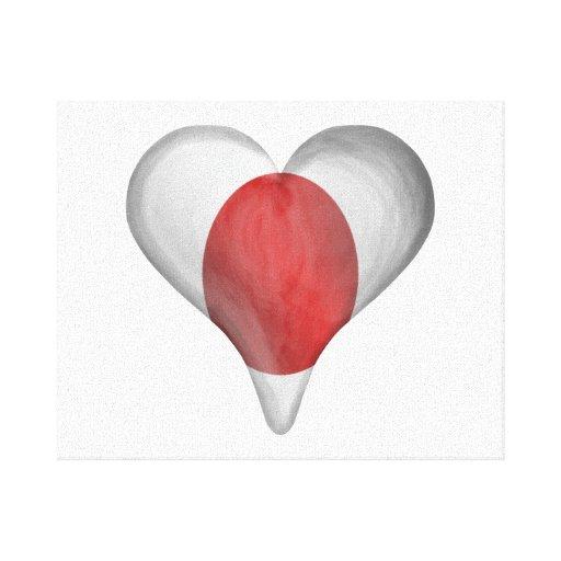 Bandera japonesa en un corazón impresión en lona