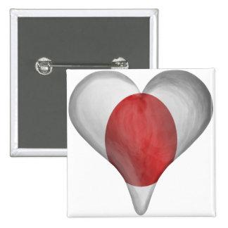 Bandera japonesa en un corazón pin