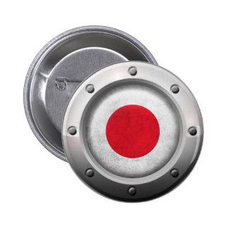 Bandera japonesa industrial con el gráfico de acer pin