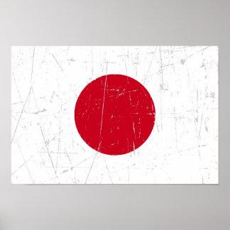 Bandera japonesa rascada y rasguñada póster