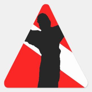 Bandera Jesús de la zambullida Pegatina Triangular