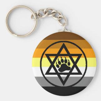 Bandera judía del orgullo del oso llavero redondo tipo pin