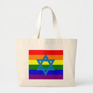 Bandera judía del orgullo gay bolsa tela grande