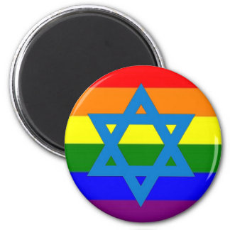 Bandera judía del orgullo gay imán redondo 5 cm