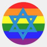 Bandera judía del orgullo gay pegatina redonda