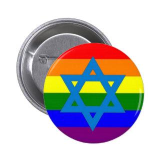 Bandera judía del orgullo gay pin redondo 5 cm