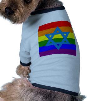 Bandera judía del orgullo gay camiseta con mangas para perro