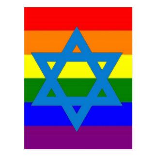 Bandera judía del orgullo gay postales