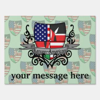 Bandera Kenyan-Americana del escudo Letrero