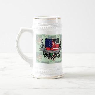 Bandera Kenyan-Americana del escudo Tazas De Café