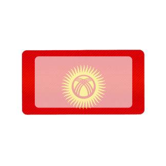 Bandera kirguizia pelada moderna etiquetas de dirección