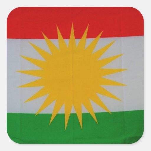 bandera kurda pegatina cuadrada