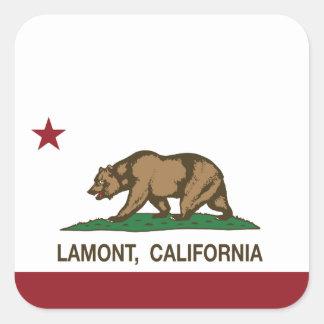 Bandera Lamont de la república de California Pegatina Cuadrada