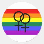 Bandera lesbiana coloreada arco iris del orgullo pegatinas