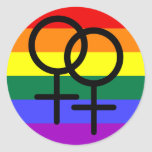 Bandera lesbiana coloreada arco iris del orgullo etiqueta